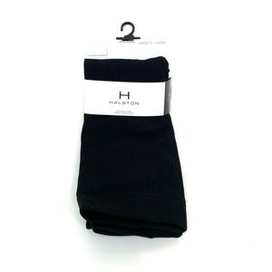 Halston Solid Black Ultra Soft Fleece Footed Tights Fall Winter Size L/XL